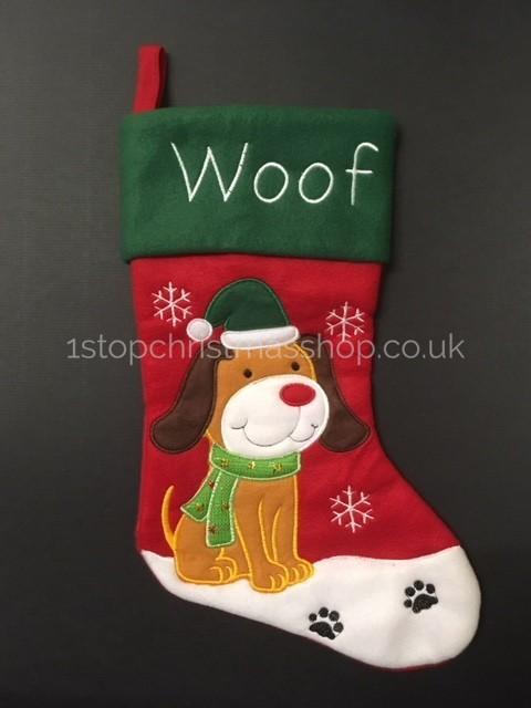 Embroidered Christmas Stockings.Dog Embroidered Christmas Stocking Soft Touch